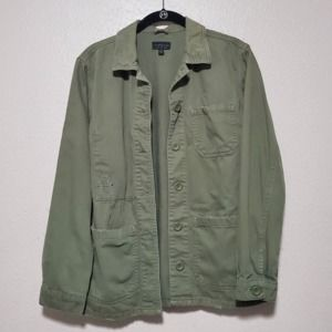 Topshop oversize military jacket green distressed